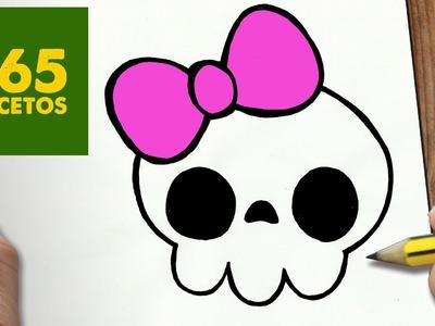 COMO DIBUJAR CALAVERA KAWAII PASO A PASO - Dibujos kawaii faciles - How to draw a Skull