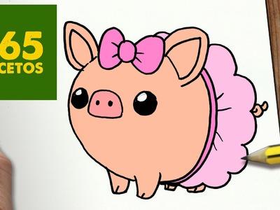 COMO DIBUJAR CERDO KAWAII PASO A PASO - Dibujos kawaii faciles - How to draw a pig