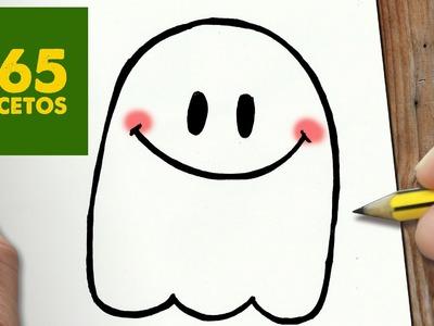 COMO DIBUJAR FANTASMA KAWAII PASO A PASO - Dibujos kawaii faciles - How to draw a Ghost
