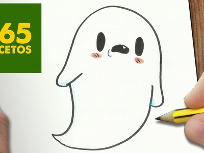 COMO DIBUJAR FANTASMA KAWAII PASO A PASO - Dibujos kawaii faciles - How to draw a GHOST
