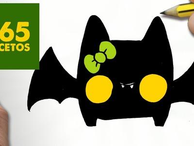 COMO DIBUJAR MURCIELAGO KAWAII PASO A PASO - Dibujos kawaii faciles - How to draw a bat