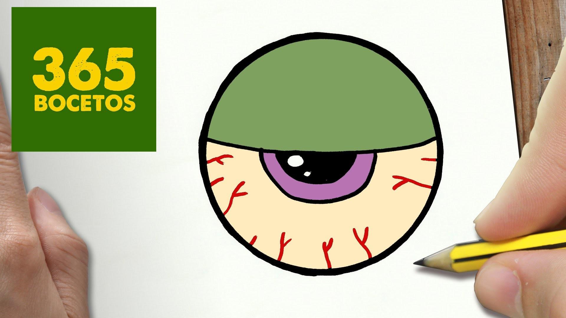 COMO DIBUJAR OJO ZOMBIE KAWAII PASO A PASO - Dibujos kawaii faciles - How to draw a EYE