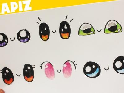 COMO DIBUJAR OJOS KAWAII PASO A PASO - dibujos kawaii faciles - How to draw eye