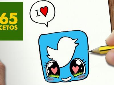 COMO DIBUJAR TWITTER ENAMORADO KAWAII PASO A PASO - Dibujos kawaii faciles - How to draw a TWITTER