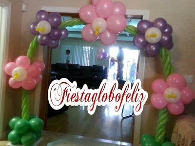 Como hacer un arco de flores fantacia hecho con globos