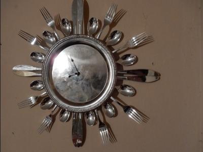 Como hacer un reloj con cubiertos y plato desechable - reciclable