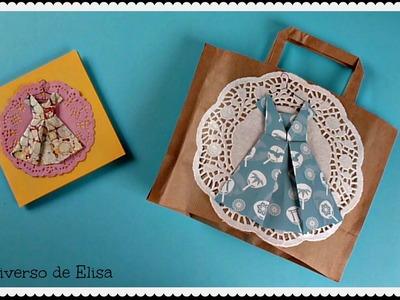 Cómo hacer un Vestido Origami para Decorar tus Proyectos:Tarjetas, Bolsas de Regalo,  Scrapbooking