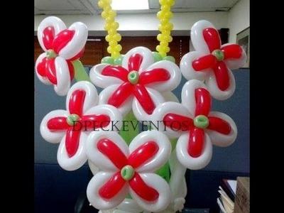 Como hacer una flor combinada. Tutorial. balloon flower. dpeckeventos