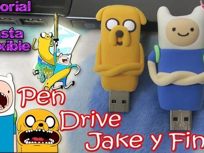 ♥ Tutorial: Personaliza tus Pen Drives en forma de Jake y Finn con Pasta Flexible.Foamy Moldeable ♥