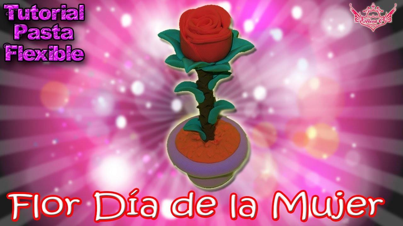 ♥ Tutorial: Rosa en 3D MUY FÁCIL Día de la Mujer de Pasta Flexile o Porcelana Fría♥
