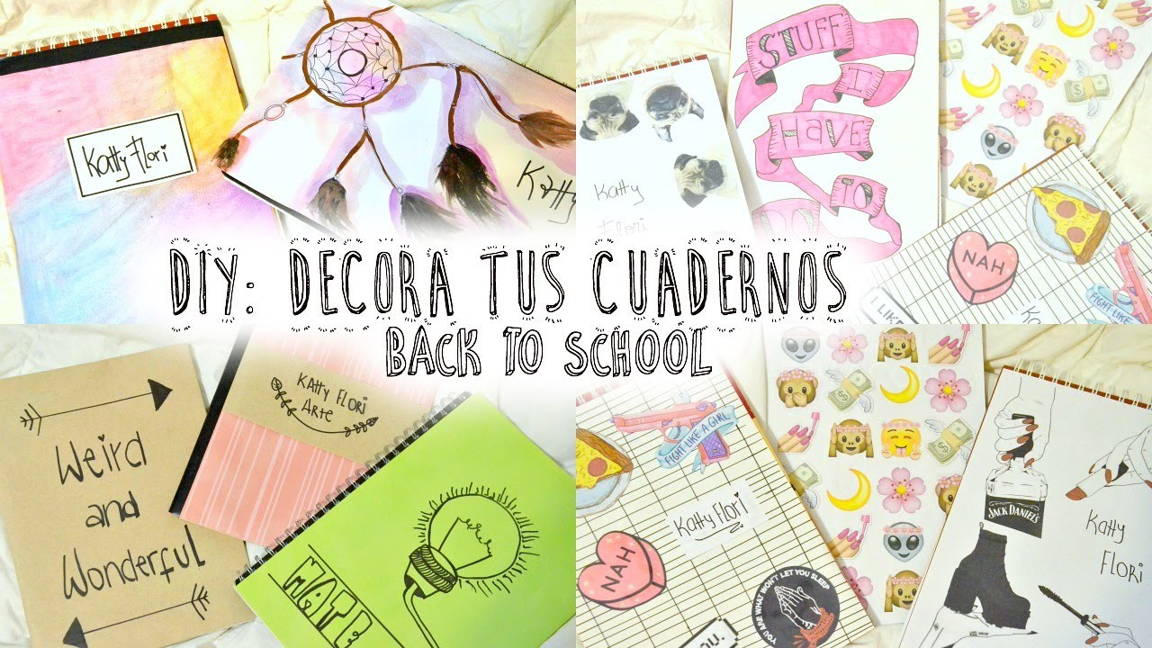 10 IDEAS PARA DECORAR TUS CUADERNOS - LIBRETAS ♡ Fácil || DIY Back to school supplies