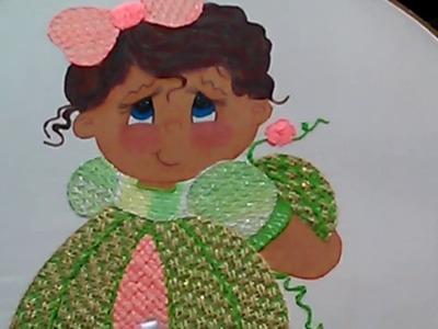 Bordado Fantasia Puntada Vestido De La Niña Melón.