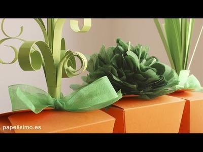 Cajas de cartulina con forma de zanahoria de papel para dulces