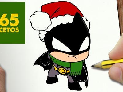 COMO DIBUJAR A BATMAN PARA NAVIDAD PASO A PASO: Dibujos kawaii navideños - How to draw a batman