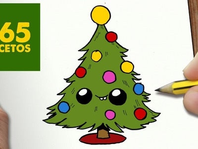 COMO DIBUJAR ARBOL NAVIDAD KAWAII PASO A PASO - Dibujos kawaii faciles - How to draw a CHRISMAS TREE