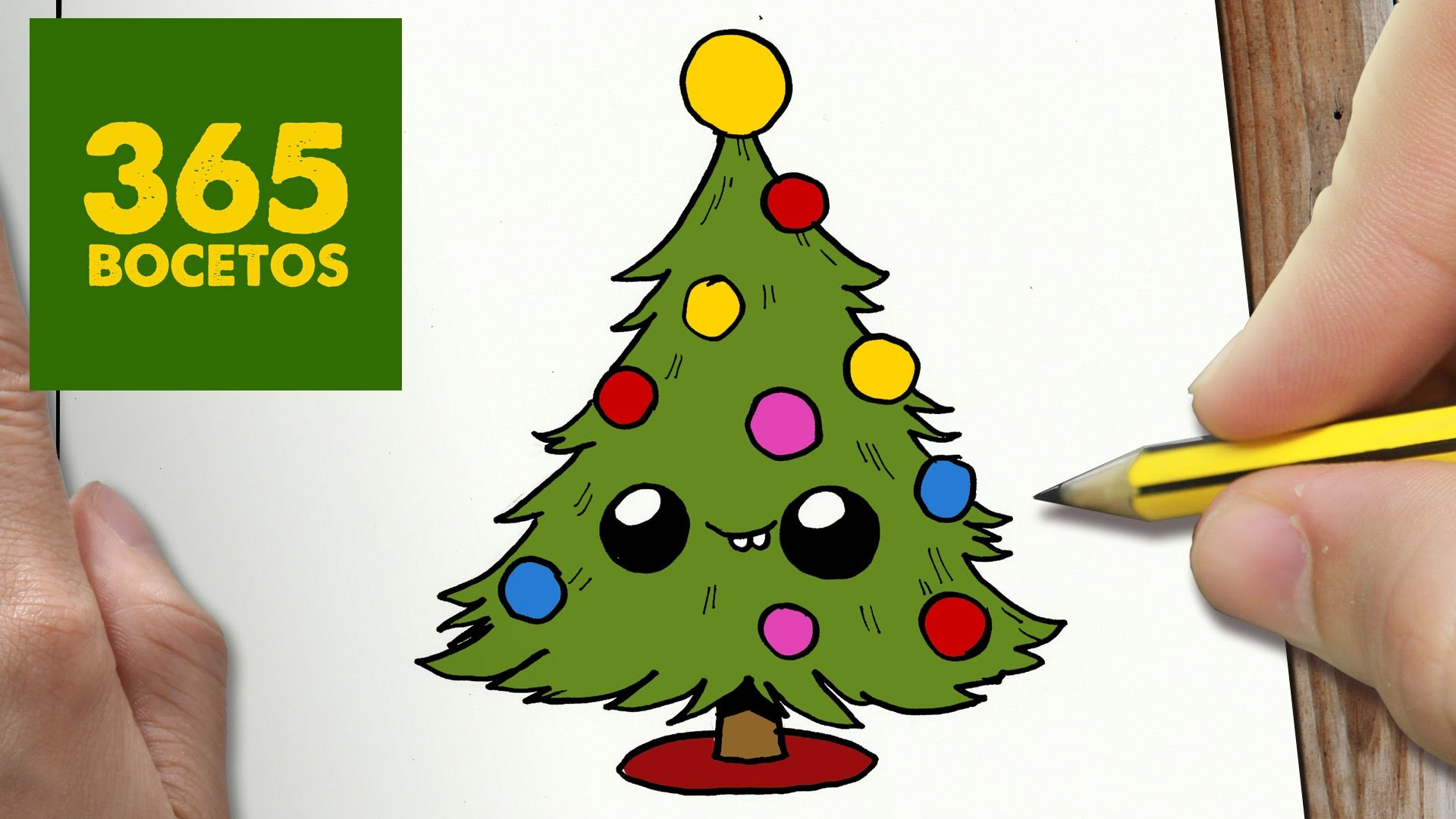 Como dibujar arbol navidad kawaii paso a paso dibujos for Dibujos de navidad pintados