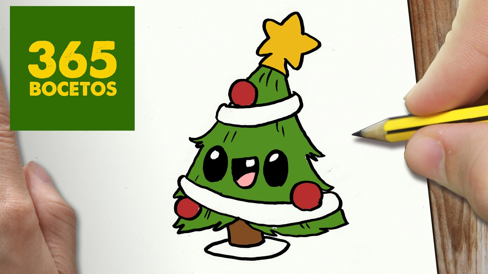Como dibujar arbol navidad kawaii paso a paso dibujos - Dibujos navidad en color ...