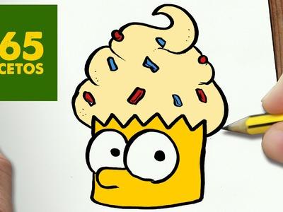 COMO DIBUJAR BART CUPCAKE KAWAII PASO A PASO - Dibujos kawaii faciles - How to draw a BART CUPCAKE