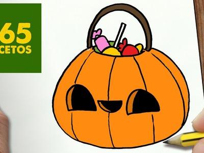 COMO DIBUJAR BOLSA CALABAZA KAWAII PASO A PASO - Dibujos kawaii faciles - How to draw a pumpkin bag