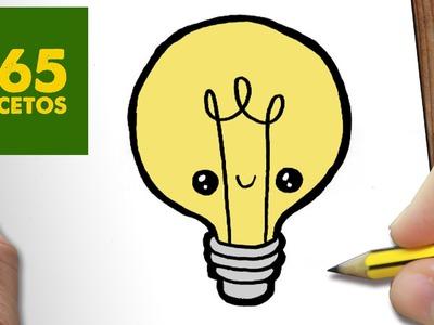 COMO DIBUJAR BOMBILLA KAWAII PASO A PASO - Dibujos kawaii faciles - How to draw a LAMP