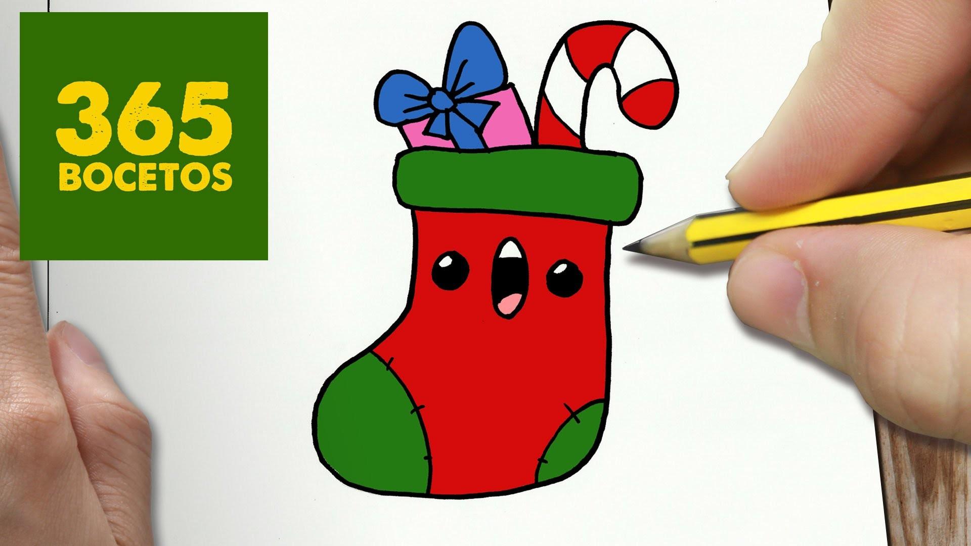 Como dibujar paso a paso cosas de navidad