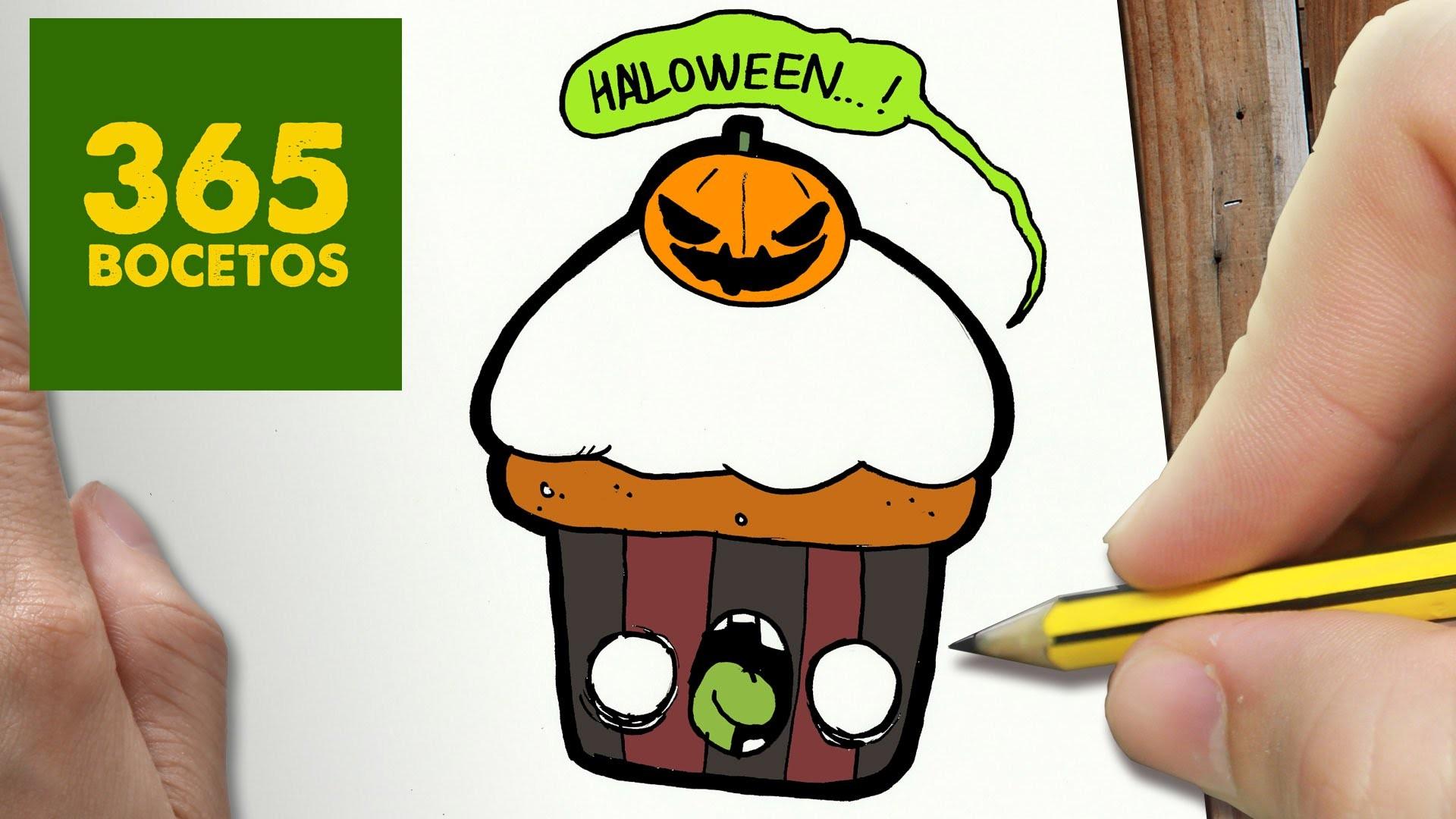 Como dibujar cupcake halloween kawaii paso a paso - Dibujos de halloween faciles ...