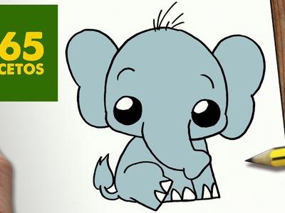 COMO DIBUJAR ELEFANTE KAWAII PASO A PASO - Dibujos kawaii faciles - How to draw a elephant
