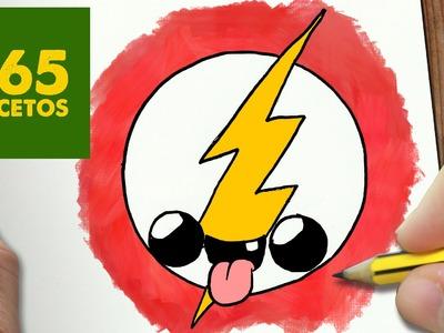 COMO DIBUJAR ESCUDO FLASH KAWAII PASO A PASO - Dibujos kawaii faciles - How to draw a Logo Flash