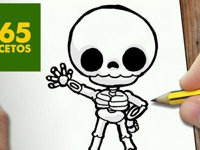 COMO DIBUJAR ESQUELETO KAWAII PASO A PASO - Dibujos kawaii faciles - How to draw a skeleton