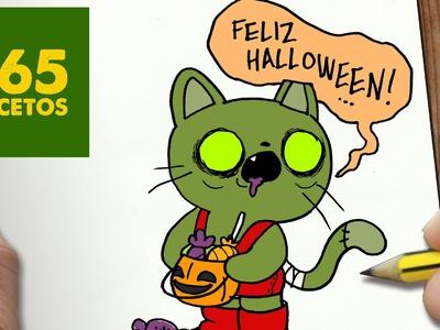 COMO DIBUJAR GATO ZOMBIE KAWAII PASO A PASO - Dibujos kawaii faciles - How to draw a CAT