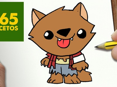 COMO DIBUJAR HOMBRE LOBO KAWAII PASO A PASO - Dibujos kawaii faciles - How to draw a WOLF MAN