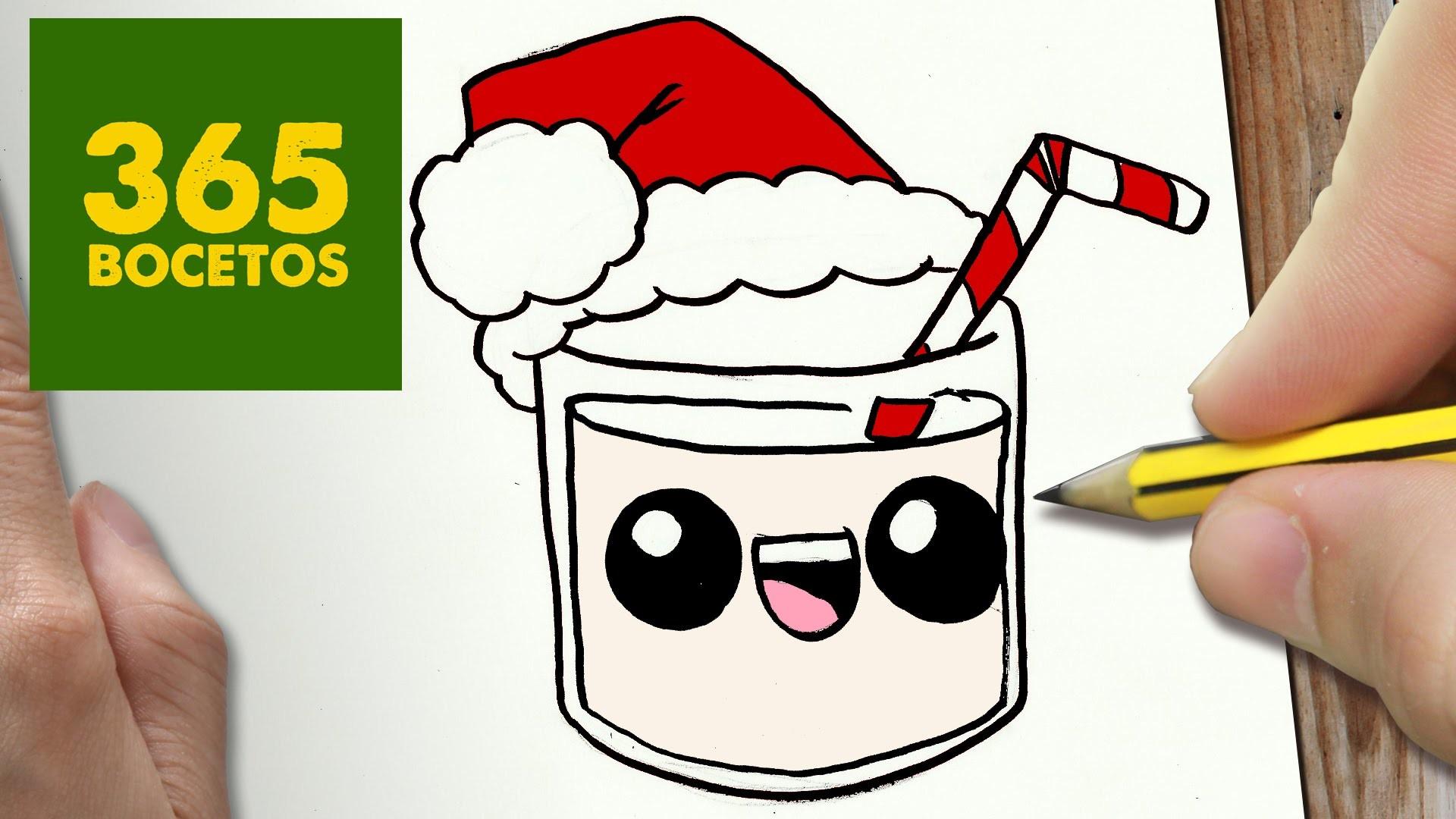 Como Dibujar Leche Para Navidad Paso A Paso Dibujos Kawaii