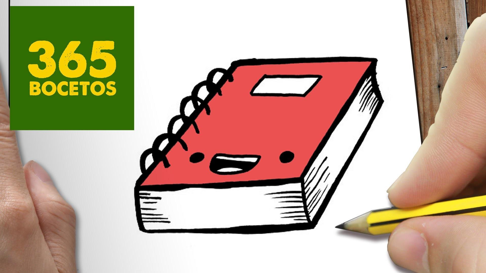 Dibujos Para Colorear De Libro Y Libreta: COMO DIBUJAR LIBRETA KAWAII PASO A PASO