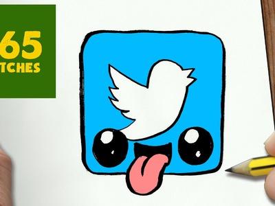 COMO DIBUJAR LOGO TWITTER KAWAII PASO A PASO - Dibujos kawaii faciles - How to draw a Logo twitter