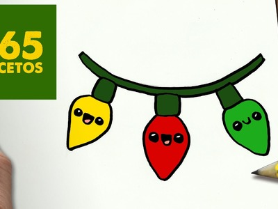COMO DIBUJAR LUCES PARA NAVIDAD PASO A PASO: Dibujos kawaii navideños - How to draw a lights