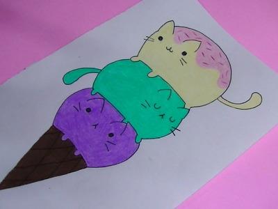 Como dibujar.pintar helado de pusheen (gato) - Semana comida kawaii