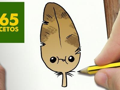 COMO DIBUJAR PLUMA KAWAII PASO A PASO - Dibujos kawaii faciles - How to draw a feather