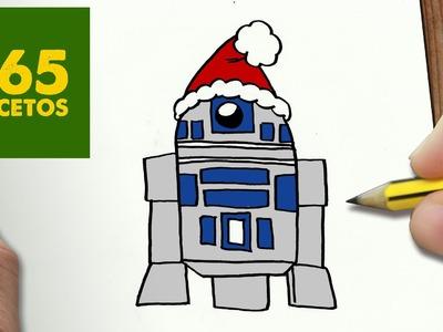 COMO DIBUJAR R2-D2 PARA NAVIDAD PASO A PASO: Dibujos kawaii navideños - How to draw a R2-D2