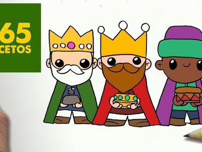 COMO DIBUJAR REYES MAGOS PARA NAVIDAD PASO A PASO: Dibujos kawaii navideños - draw reyes magos