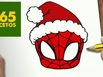 COMO DIBUJAR SPIDERMAN PARA NAVIDAD PASO A PASO: Dibujos kawaii navideños - How to draw a SPIDERMAN
