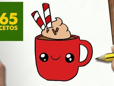 COMO DIBUJAR TAZA DE CHOCOLATE PARA NAVIDAD PASO A PASO: Dibujos kawaii navideños - draw cocoa