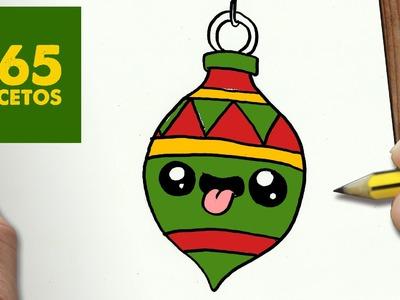 COMO DIBUJAR UN ADORNO PARA NAVIDAD PASO A PASO: Dibujos kawaii navideños - How to draw a Ornament