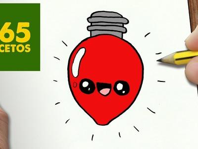 COMO DIBUJAR UN BOMBILLA PARA NAVIDAD PASO A PASO: Dibujos kawaii navideños - How to draw a lamp