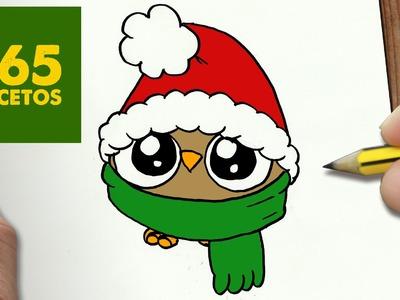 COMO DIBUJAR UN BUHO PARA NAVIDAD PASO A PASO: Dibujos kawaii navideños - How to draw a owl