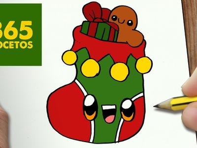 COMO DIBUJAR UN CALCETIN PARA NAVIDAD PASO A PASO: Dibujos kawaii navideños - How to draw a sock