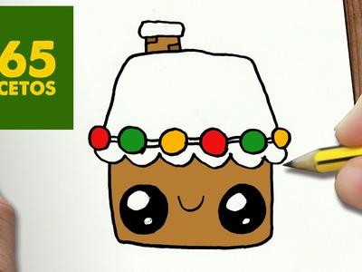 COMO DIBUJAR UN CASA PARA NAVIDAD PASO A PASO: Dibujos kawaii navideños - How to draw a house