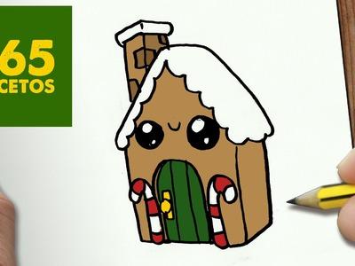 COMO DIBUJAR UN CASITA PARA NAVIDAD PASO A PASO: Dibujos kawaii navideños - How to draw a House