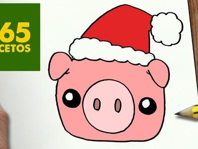 COMO DIBUJAR UN CERDO PARA NAVIDAD PASO A PASO: Dibujos kawaii navideños - How to draw a Pig