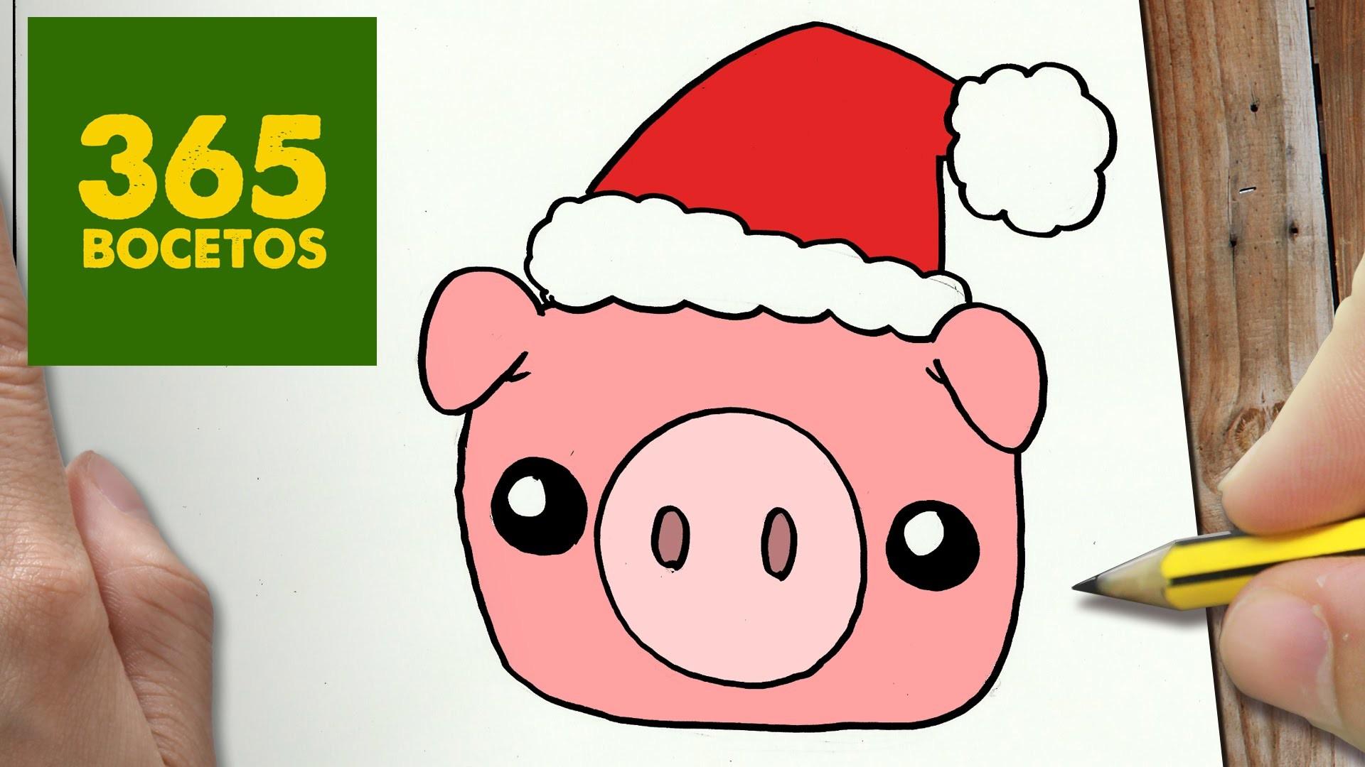 Como Dibujar Un Cuaderno Para Navidad Paso A Paso Dibujos: COMO DIBUJAR UN CERDO PARA NAVIDAD PASO A PASO: Dibujos