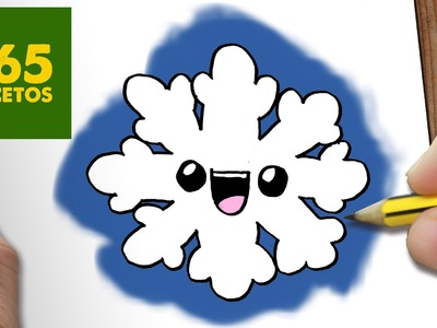 COMO DIBUJAR UN COPO DE NIEVE PARA NAVIDAD PASO A PASO: Dibujos kawaii navideños - draw a snowflake
